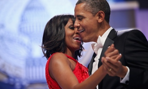 President and the first lady share a dance.