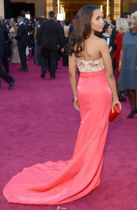 Kerry Washington got all decked out in a coral Miu Miu gown!