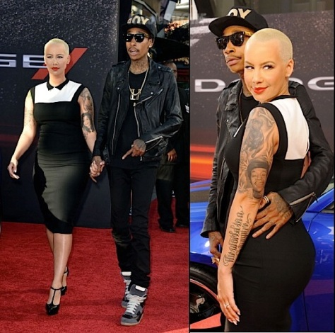Amber hit the Carpet with her Fiancee Wiz Khalifa, sporting tats and a hip-hugging with a black and white dress