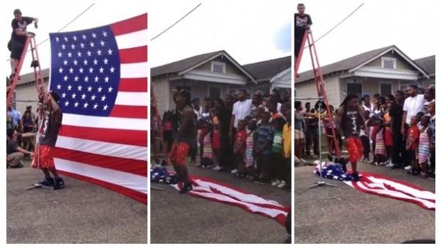 Lil Wayne disrespects the American flag