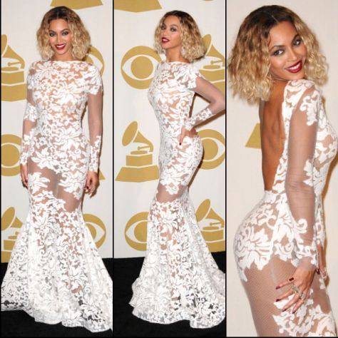 Beyonce-wears-Michael-Costello-Custom-Gown-Grammy-Awards