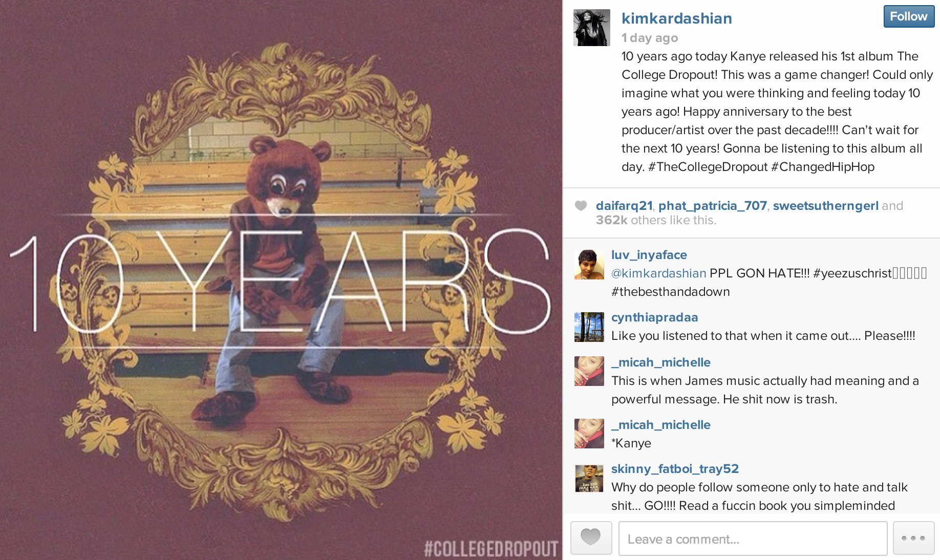 Kanye West College Dropout Celebrates its 10 year