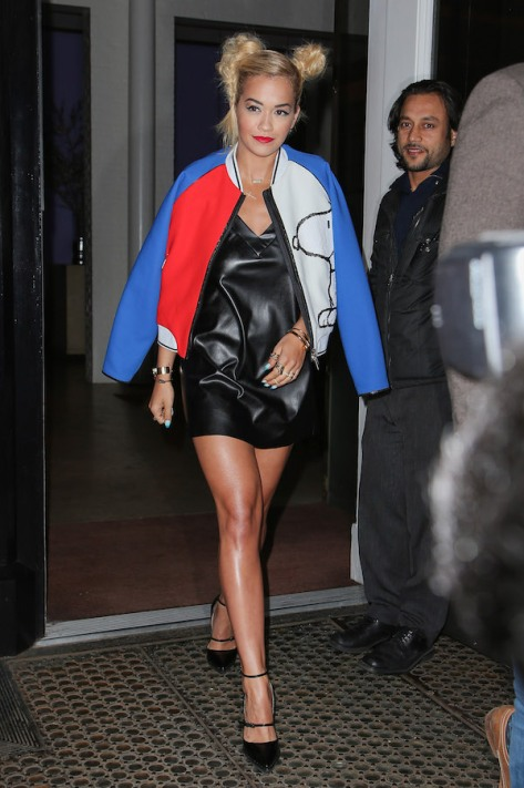FAY Colorblock Dress on RIta Ora