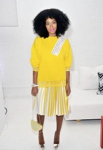 3-Solange-Knowless-QQ-Watch-Launch-Event-Christopher-Kane-Yellow-Sweater-PLeated-Skirt-and-SIlver-Acne-Pumps